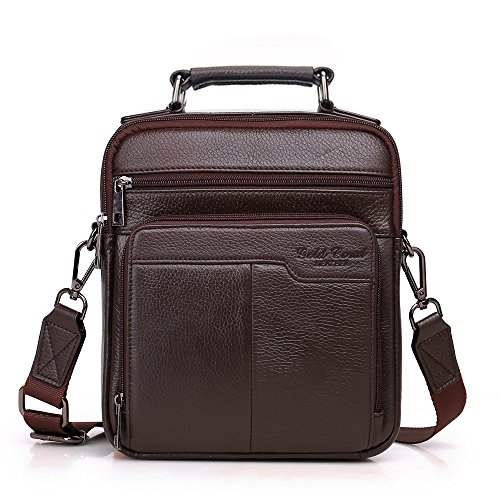 Langzu Handmade Mens Leather Messenger Shoulder Bag Ipad Bag Handbag (coffee)
