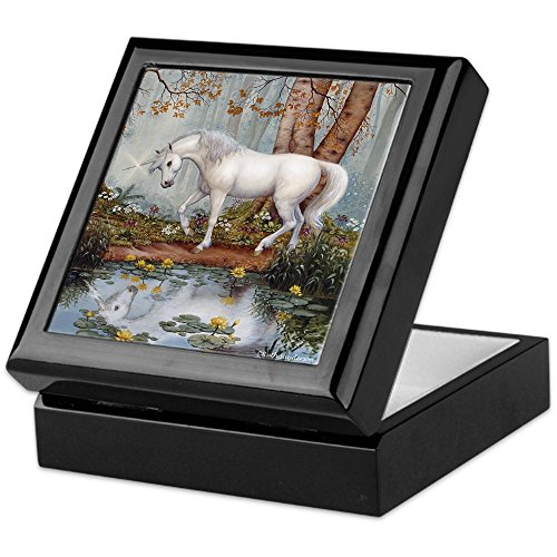 Unicorn Keepsake (CafePress - UNICORN REFLECTION - Keepsake Box, Finished Hardwood Jewelry Box, Velvet Lined Memento Box)