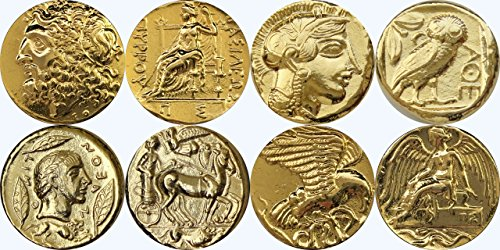 Pewter Coin Set (Greek Mythology, Zeus 10G, Athena 12G, Apollo 27G, Nike 9G, Greek Gods & Goddesses Collection, Most Famous Greek Coins, SET 2 of 4 Different Sets,)
