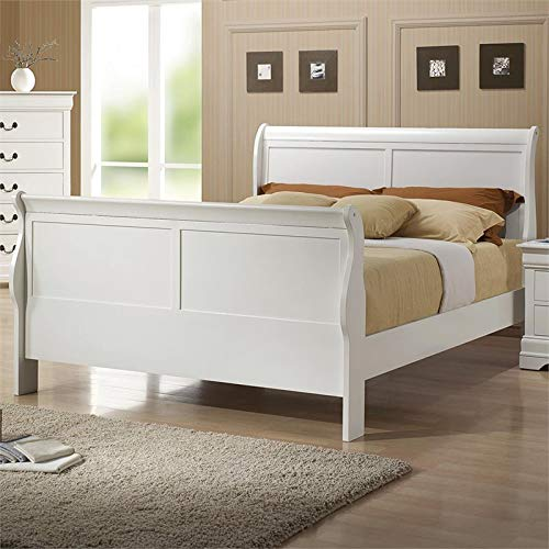 Amazon Com Bowery Hill Full Sleigh Bed In White Kitchen Dining