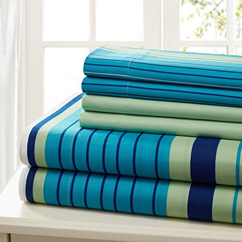 Traditional Home Sheet Set Cotton Percale 6 Piece Print Twin Full Queen King Soft (Green Stripe, Queen) ()