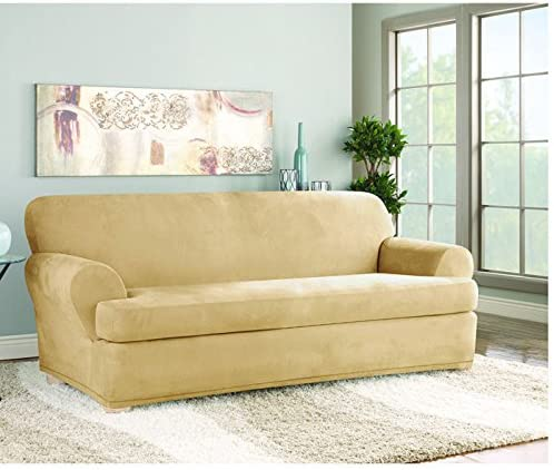 Sure Fit Stretch Suede T-Cushion Two Piece Sofa Slipcover,Camel