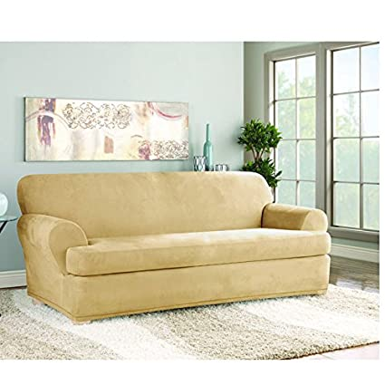 Superbe Sure Fit Stretch Suede Sofa 2 Piece T Cushion Slipcover