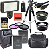 Pro Accessory Kit for Nikon Coolpix P900 Digital Camera - Includes 2 ENEL23 Batteries and Battery Charger + 64GB SD Card + 67mm Filter Kit + Wide Angle and Telephoto Lens + Pro LED Light + 57'' Tripod