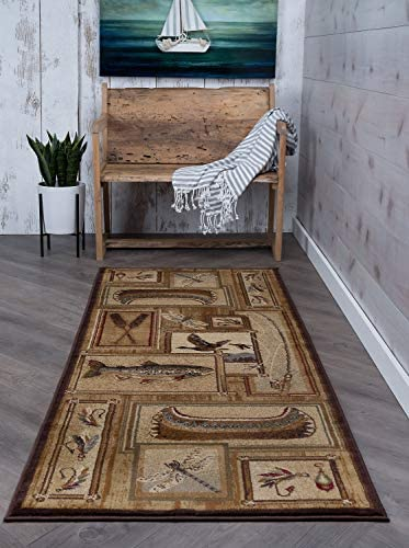 Trout Fishing Novelty Lodge Pattern Ivory Runner Rug, 2.7 x 7