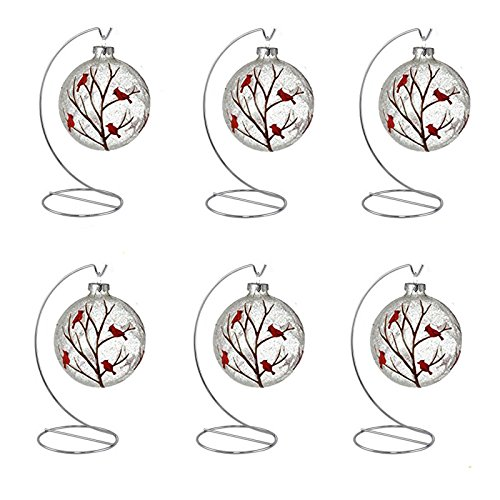 HOHIYA Ornament Wire Display Stand Hook Hanger Holder Christmas Easter Egg Ball Bauble Art Craft Diy Home Party Decorations Dog Cat Photo Glass Personalized Ornaments 8inch(Silver,pack of 6)