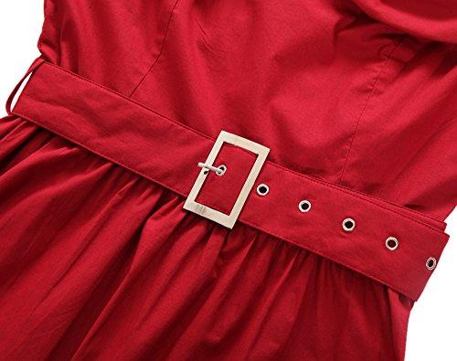 ROBLORA- Vestidode noche de Cóctel 'Audrey' Vestido Vintage Años 50 An5002 Burdeos