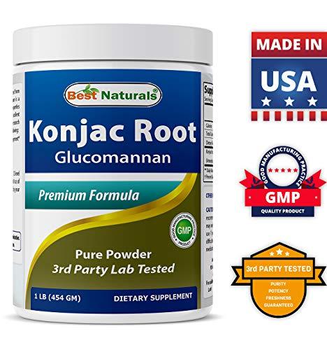 Best Naturals Konjac Root Glucomannan Powder (Non-GMO) – Promotes Healthy Metabolism & Weight Management – 1 Pound