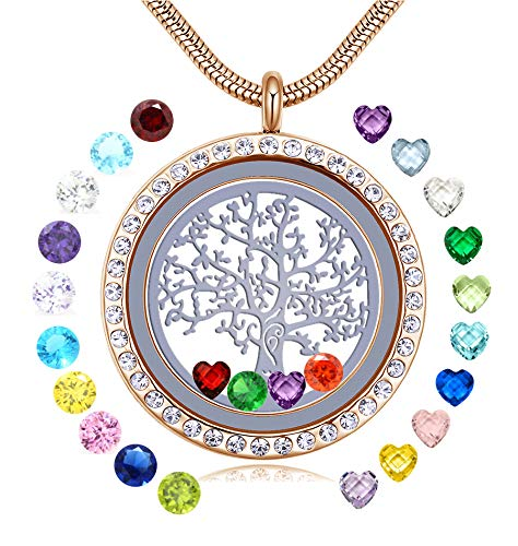 JOLIN 18k Gold Family Tree of Life Floating Locket Memory Charms Necklaces for Women Girls, Birthstone Pendant with Pretty Box for Mom Aunt Grandma Nana Daughter Niece