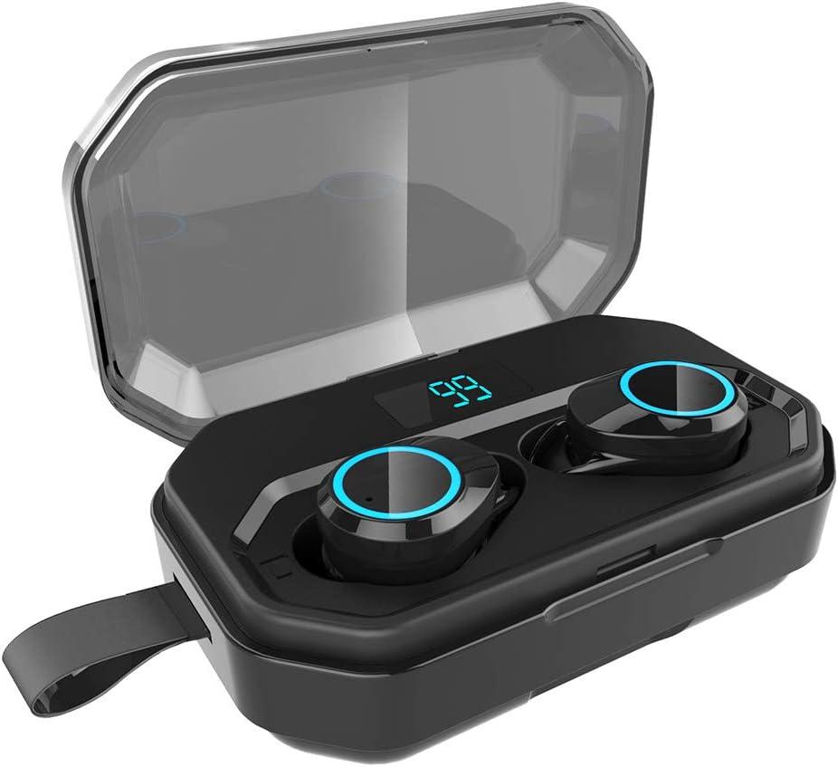 WYKsoku Bluetooth Earphones Headphones, Mini Ear Buds in-Ear Stereo Bluetooth 5.0 Wireless Earphones with Charge Case - Black