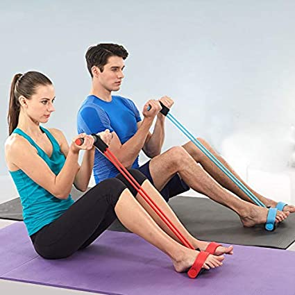 Blue Sanfiyya Pedal Resistance Band Elastic Traction Ropes Rower Belly Gymnastics Training Equipment for Yoga Exercise Fitness