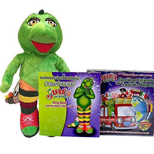 JUANA LA IGUANA Toddler Learning Plush Toy & CD Song - Dance and Learn Spanish with Latin Music for Kids - Toddler Learning Toys with Fun Music - Juguete y Canciones Infantiles para Aprender Español