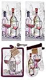 Kay Dee Tuscany Wine 5-pc Gift Set Kitchen Towels, Potholder, Oven Mitt Antique Design Key Bottle Opener (Choice Wine)