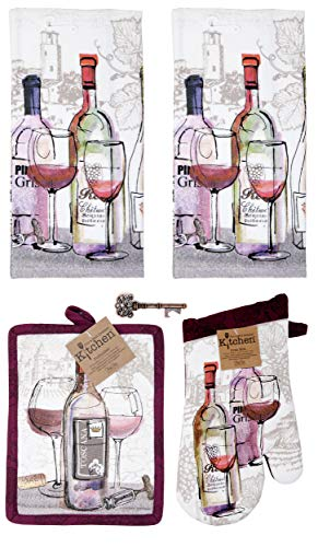 Kay Dee Tuscany Wine 5-pc Gift Set Kitchen Towels, Potholder, Oven Mitt Antique Design Key Bottle Opener (Choice - Dee Kay Wine Designs