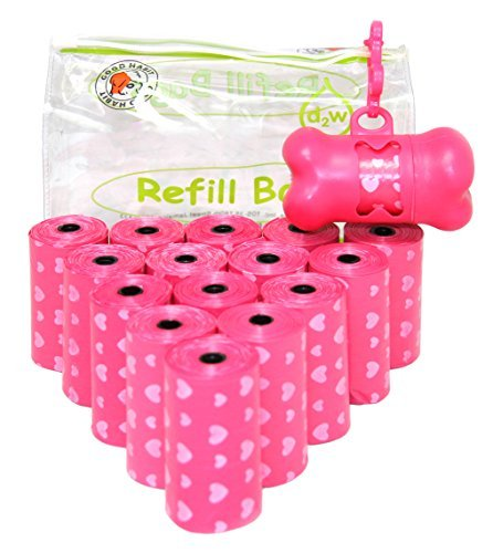 - Good Habit by Best Pet Supplies - 15 Micron Thick Waste Poop Bags Refill Rolls with Dispenser - Light Scented, Pink Heart, 240 Bags ...