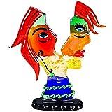 YourMurano Murano Glass Sculpture, Picasso Inspired, Multicolor, Female Head, Art Glass Figure, Handmade, Blown Glass, Modern, 100% Trademark of Origin Guaranteed, Aster