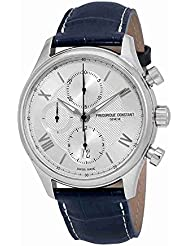 Frederique Constant Silver Dial Blue Leather Strap Mens Watch FC392MS5B6