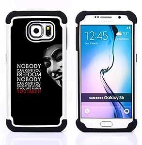 - freedom equality justice man quote masculine/ H??brido 3in1 Deluxe Impreso duro Soft Alto Impacto caja de la armadura Defender - SHIMIN CAO - For Samsung Galaxy S6 G9200