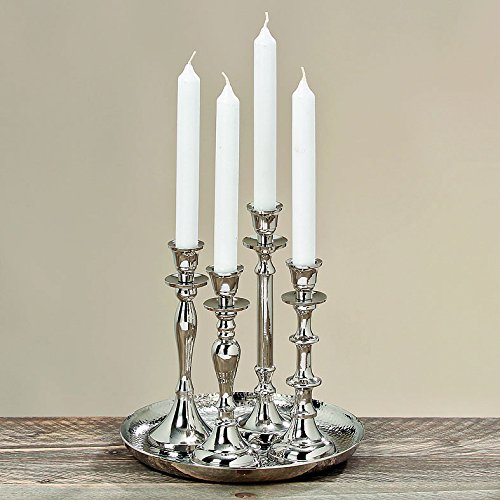 Whole House Worlds The Americana Table Top Centerpiece Collection of 4 Handmade Silver Candle Stick Holders on a Tray, Aluminum, Various Sizes to 9 Inches, By