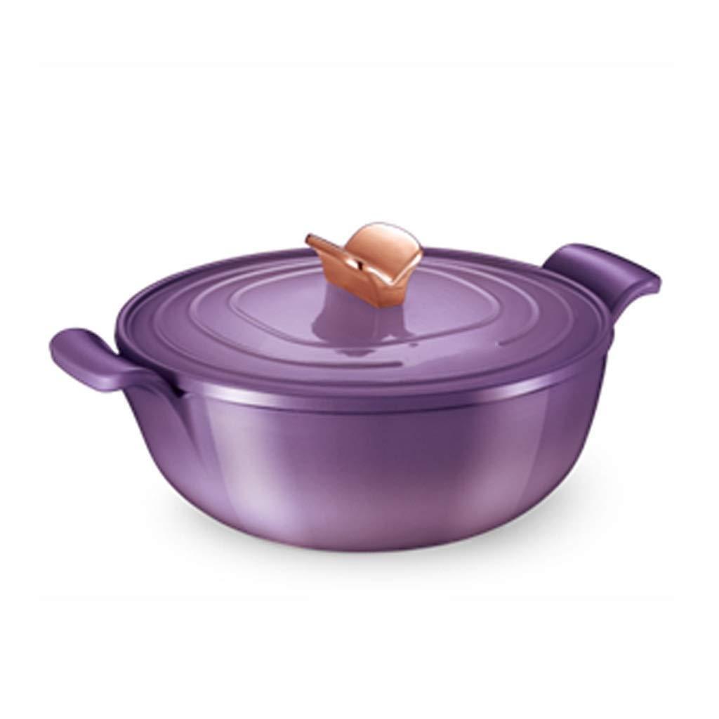 KJRJKX Cookware 6 Quart Enameled Cast Iron Dutch Oven Cooking Dish with Self-Basting Lid (Color : Purple)