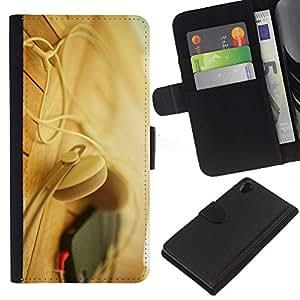 KingStore / Leather Etui en cuir / Sony Xperia Z2 D6502 / Auriculares Teléfono Beige