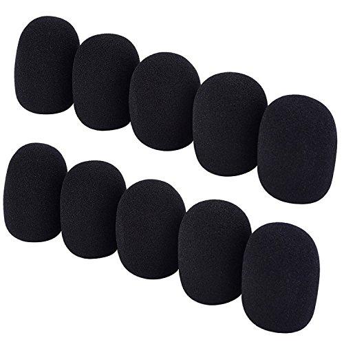 Mic Accessories Windscreens (HUELE 10 Pack Foam Mic Cover Handheld Microphone Windscreen, Black)