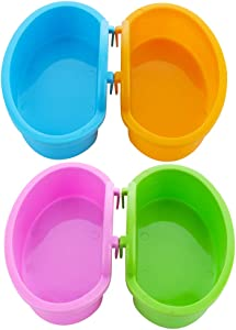 4 Pack Hamster Food Bowl - Anti-Turnover Fixable Bowl for Hamster Mice Rat Hedgehog and Small Pet ( Pink, Green, Blue and Orange )