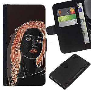 Leather Etui en cuir || Sony Xperia Z2 D6502 || Redhead Chica Negro rojo de los labios de la mujer @XPTECH