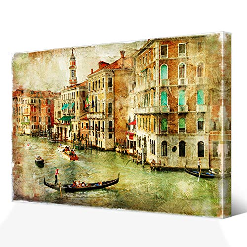 Venice Art Italy - VVOVV Wall Decor - European Retro Nostalgic Building Painting Venice Canvas Wall Art Print Grand Canal Venice Poster Framed Italy Cityscape Artwork Cafe Restaurant Decor