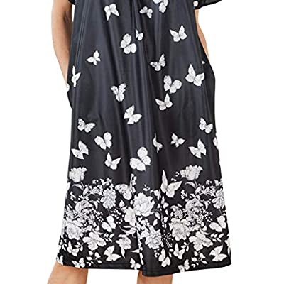 AmeriMark Lounger House Dress with Pockets for Women Muu Muu Nightgown at Women's Clothing store