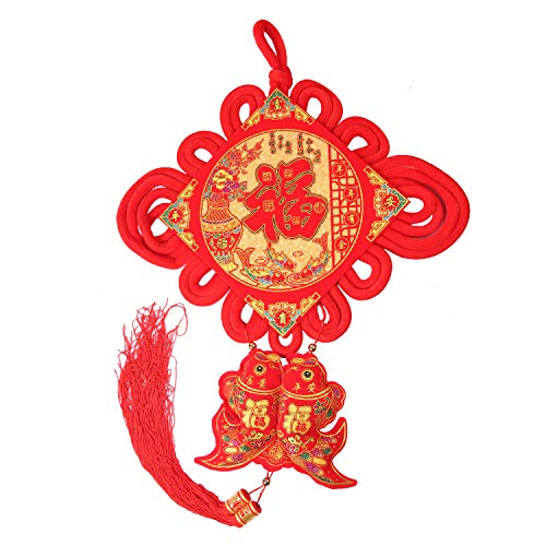 KI Store Chinese Knot Tassel Chinese New Year Decoration 2019 Traditional Red Lucky Oriental Pendant Ornaments for Spring Festival, Lunar New Year(FU -