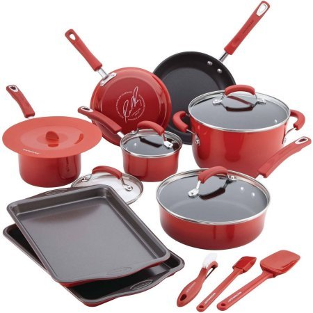Rachael Ray 16-Piece Hard Porcelain Enamel Nonstick Cookware