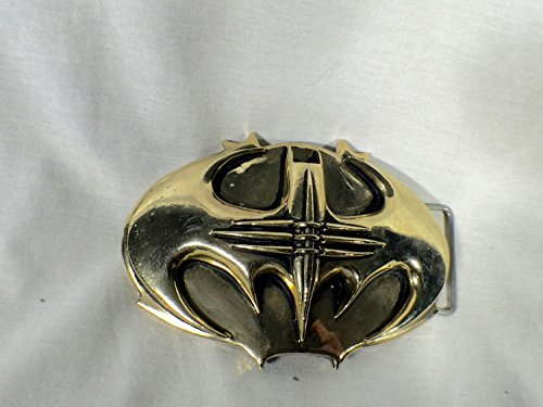Batman Forever, Traditional Type Metal Bat Buckle, Gold, with Real Leather Belt