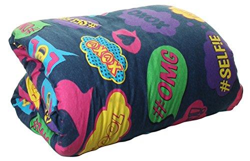 100% cotton Jersey Knit Comforter Twin Size Denim Bubble Text