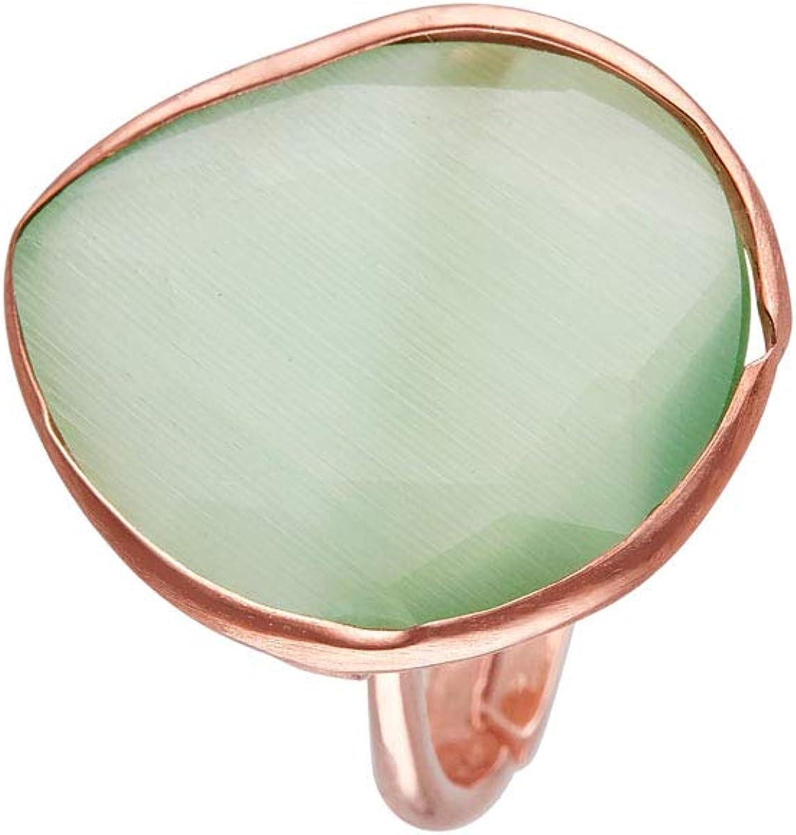 Córdoba Jewels | Sortija en Plata de Ley 925 bañada en Oro Rosa con Piedra semipreciosa con diseño Luxury Jade Rose Gold