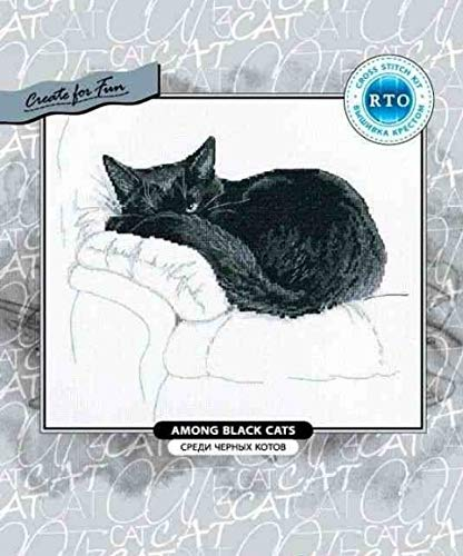 Zamtac Gold Collection Lovely Counted Cross Stitch Kit rto Among Black Cats Cat Kitten Kitty on Sofa Bed White Quilt - (Cross Stitch Fabric CT Number: 18CT unprint Canvas) (Cat Black Stitch Cross)