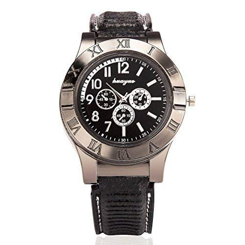 Vishm USB Lighter Watch, Multifunctional Rechargeable Cigarette Lighter Watch Windproof Stylish Sporty Quartz Wristwatch Flameless - Best Novelty Gifts for Him(Black)