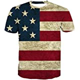 ALAZA Mens American USA Flag T-Shirt Vintage Summer Casual Tees Tops July of 4th
