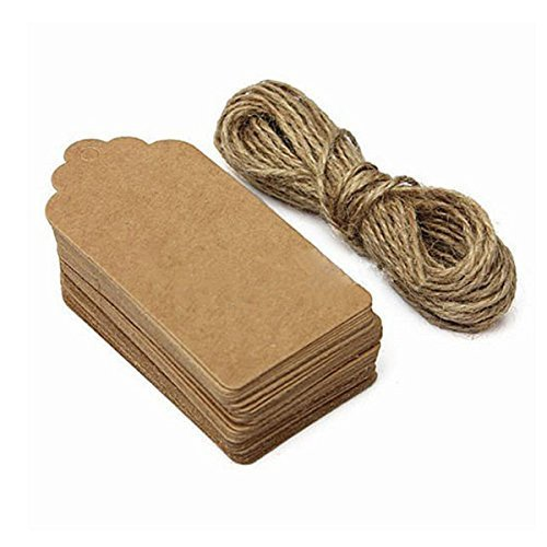 Gift Tags,120 PCS Kraft Paper Tags DIY Tags For Christmas Wedding Price Party Label Gift Cards Hang Tags Rectangular with Free 100 Feet Natural Jute Twine By Aree