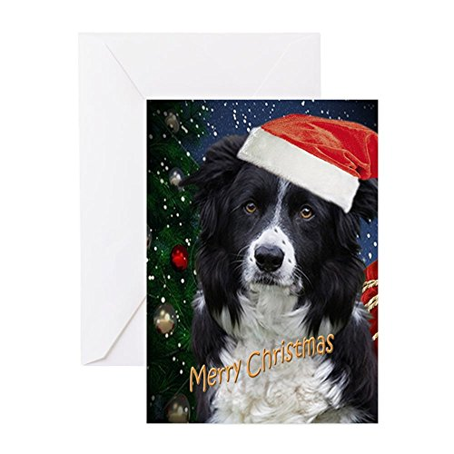 CafePress - BORDER COLLIE MERRY CHRISTMAS - Greeting Card, Note Card, Birthday Card, Blank Inside Matte