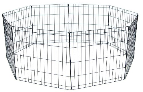 YML Animal Play Pen with Door 24-Inch x 24-Inch, 8 Panels, Black
