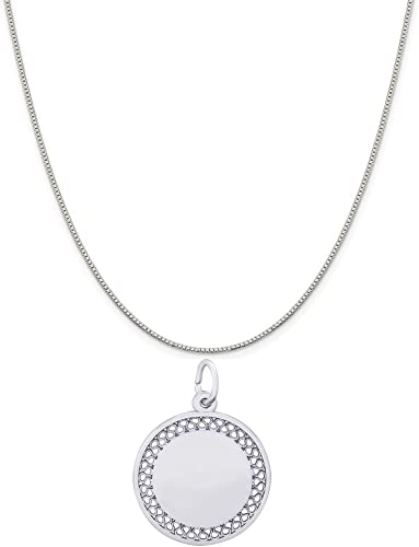 Mireval Sterling Silver Happy Anniversary Disc Charm on a Sterling Silver Chain Necklace 16-20