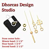 Dhorcas (#10) 3/4'' Threaded Motor and Gold 2 1/2'' Hands and Hanger, Quartz Clock Movement Kit for Replacement