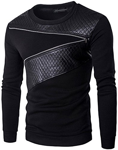 - jeansian Men's Zipper Faux Leather Pullover Sweater Sweatshirts D726 Black L