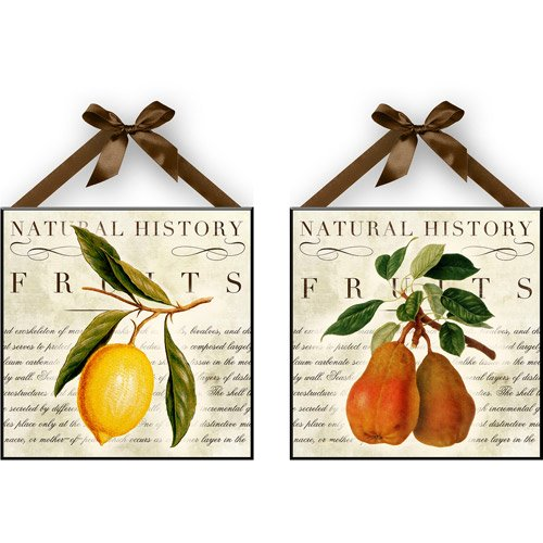 Aromzen Natural Lemon & Pear Wall Plaques, Set of 2