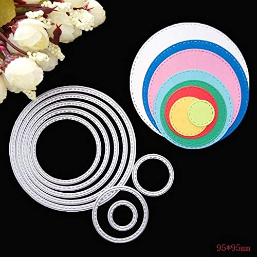 Davitu Nesting Die Scalloped Scallop Stitched Rectangle Oval Star Square Tag Lable Circle Frame Metal Cutting Dies for Christmas Card - (Color: 9.5cm Circle)