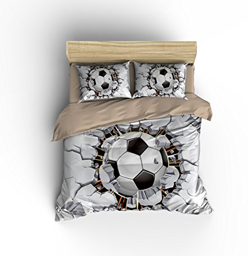 DIY Duvetcover Awesome White Soccer Football Cotton Microfiber 3pc 80''x90'' Bedding Quilt Duvet Cover Sets 2 Pillow Cases Full Size by DIY Duvetcover