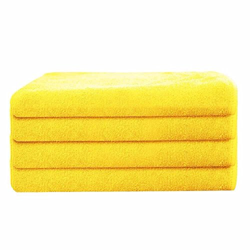 GHP 120-Pcs Yellow 16''x16'' 330GSM Professional Grade Microfiber Cloth Cleaning Towels by Globe House Products