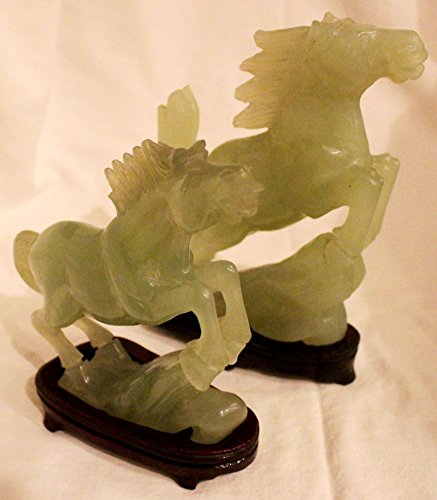 2 Chinese Antique Hand-Carved Jade Horse Statues
