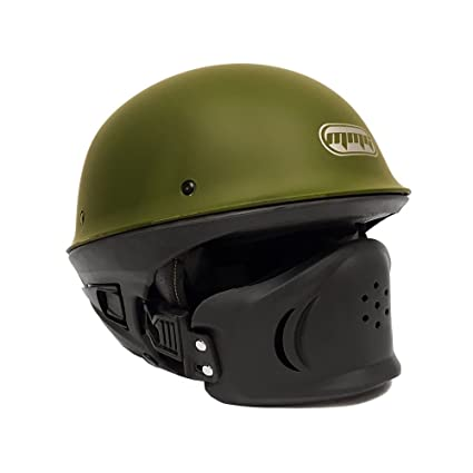 Motorcycle Vader Military Green Street Open Face Helmet DOT Approved - XL